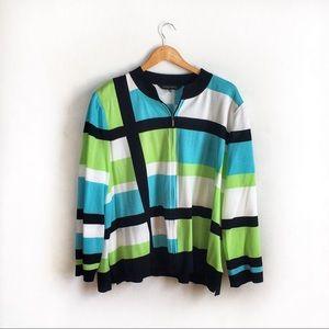 Ming Wang Zip Front Cardigan Sweater